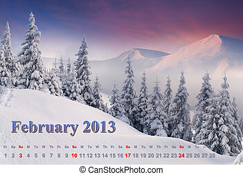 2013 Calendar. February. Beautiful winter landscape in the mountains.