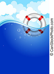 Life Buoy in water - Vector illustration of Life Buoy in...