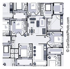 country house - Plan a country house on a white background