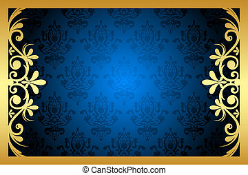 Vector gold and blue floral frame