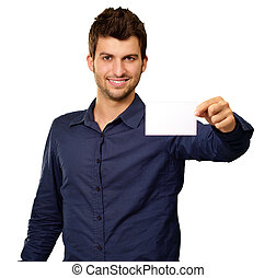 Young Man Holding Blank Visiting Card On white Background