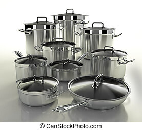 Set of pots - A set of stainless steel pans on a light...