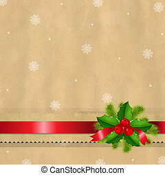 Retro Paper Bow And Holly Berry