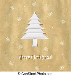 Christmas Paper Card With Paper Fir-tree