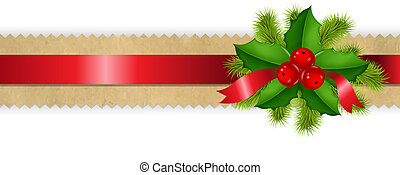 Retro Divider Ribbon With Holly Berry