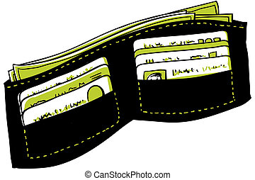 Cartoon Wallet - A cartoon wallet with cash and credit...