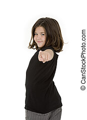 Child - Caucasian child pointing finger at camera on white...