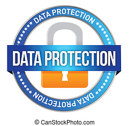 Icon Data Protection seal illustration design over white