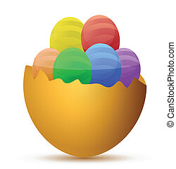Broken egg filled with little chocolate eggs