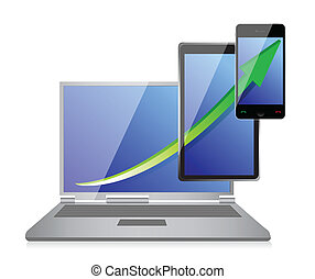 Increasing Business Graph on Laptop, Tablet and phone...