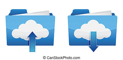 Cloud computing upload and download icons illustration...