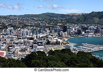 Wellington - Aerial view of Wellington CBD. North Island,...