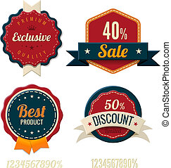 Vintage Labels template set Sale, discount theme Retro...