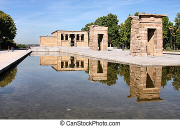 Temple of Debod - Egyptian temple rebuilt in Madrid, Spain...