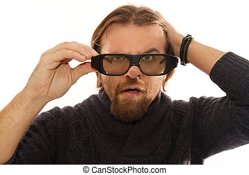 man with 3D glasses - red bearded watching TV in 3D