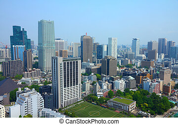 Tokyo, Japan - aerial view of Roppongi district. Modern city...