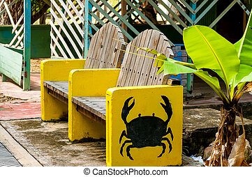 Bench with Crab Design - Outdoor bench with crab painted on...
