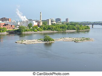 Gatineau, Quebec - view across the Ottawa river towards...