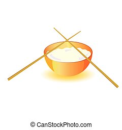 japanese rice bowl with sticks vector illustration