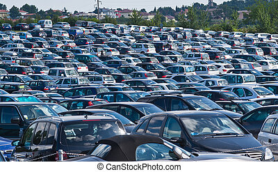 Automobiles on parking - Lots of cars parking in the city