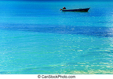 Blue Boat, Blue Water - Blue boat in turquoise Caribbean...