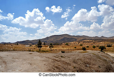 Village of Matmata, Tunisia - Panorama of the desert village...