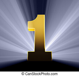 Number One - Gold number on dark blue background brilliantly...