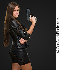 retrato, de, Un, mujer, tenencia, arma de fuego