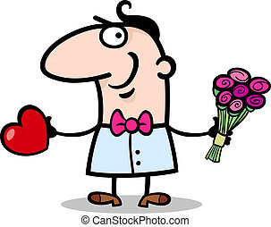 man with heart and flowers cartoon