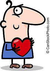 man with heart cartoon illustration - Cartoon St Valentines...