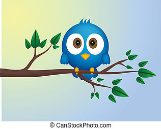 Blue bird sitting on twig