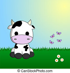 Cute cow sitting in grass