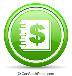 money green glossy icon on white background - green circle...
