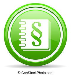 law green glossy icon on white background - green circle...