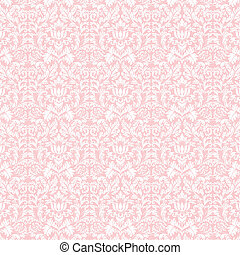 Seamless Pastel White and Pink Damask - White damask pattern...