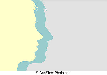 Man and woman faces background