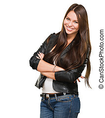 Pretty woman smiling against a white background