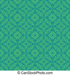 Seamless Bright Green Damask - Bright emerald green damask...