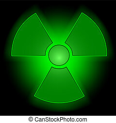 Glowing radioactive symbol