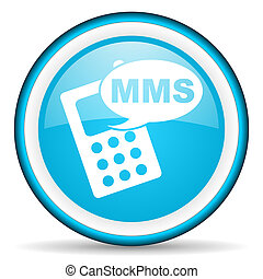 mms blue glossy icon on white background - blue circle...