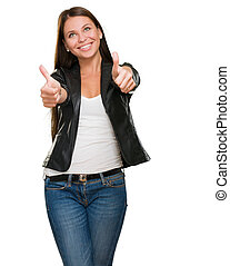 Young Happy Woman With Thumbs Up Isolated On White...