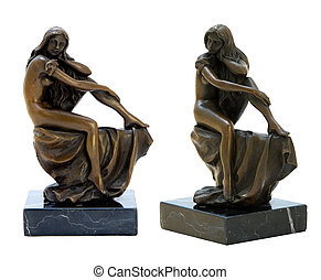 Bronze antique figurine of the naked woman.