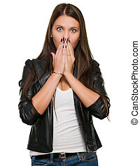 Surprised Woman covering her mouth Isolated On White...