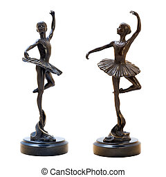 Bronze antique figurine of the dancing ballerina Isolated...