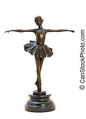 Bronze antique figurine of the dancing ballerina.