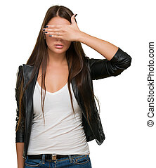 Young Woman Covering Her Eyes On White Background
