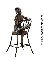 Bronze antique figurine of naked woman sitting on the chair....