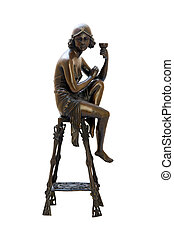 Bronze antique figurine of naked woman sitting on the chair...