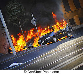 Angled Cars Burning - Cars on fire