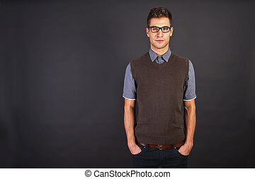Man in brown sweter with smile